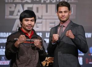 Manny Pacquiao y Chris Algieri listos parta su combate en China. Foto: AP
