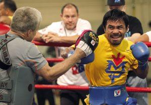 El boxeador filipino Manny Pacquiao en un gimnasio en el hotel The Venetian en Macao. Foto: AP