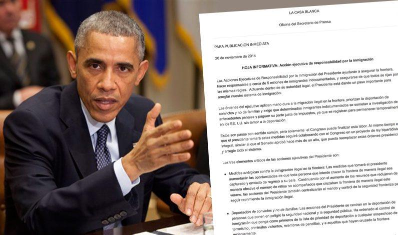 Adelanta Casa Blanca acción ejecutiva de Obama