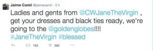 Tuit que escribió el actor tras enterarse de las nominaciones. Foto: Twitter