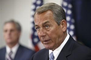 El presidente de la Cámara de Representantes John Boehner se reunió hoy con los legisladores republicanos. Foto: AP