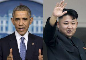 """Este montaje muestra al presidente estadounidense Barack Obama, izquierda, y el lídernorcorano Kim Jong Un. Corea del Norte comparó a Obama con un """"mono"""" y culpó a Estados Unidos por provocarle un apagón de internet. Foto: AP"""