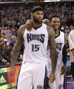 Cousins, de Sacramento, encestó mediante un salto justo cuando el tiempo se agotaba, y totalizó 28 puntos y 12 rebotes. Foto: AP