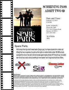 Imprime este pase para entrar gratis tse jueves a la proyección de Spare Parts. Foto: Cortesía