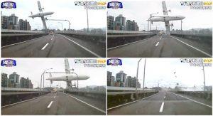 En esta combinación de fotos tomadas de un video suministradopor TVBS se el momento en que un avión taiwanés roa un puente y se precipita a un río el 4 de febrero de 2015 en Taipé. (AP