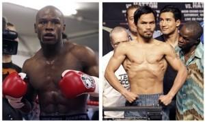 Mayweather Jr. (izquierda) y Manny Pacquiao se enferntarán en combate por el título el 2 de mayo. Foto: AP