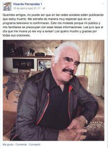 Vicente desmiente su supuesta muerte. Foto: Tomada de Facebook de Vicente Fernández