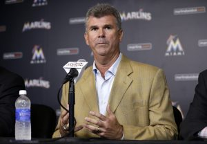 Miami Marlins general manager Dan Jennings speaks during a news conference where he was named manager of the Marlins, Monday, May 18, 2015, in Miami. Jennings replaces Mike Redmond who was fired Sunday after the Marlins were nearly no-hit in a 6-0 loss to the Atlanta Braves that completed a three-game sweep. (AP Photo/Lynne Sladky)