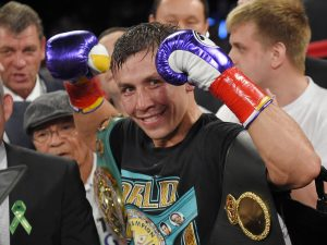 Gennady Golovkin, of Kazakhstan, poses after defeating Willie Monroe Jr. in a middleweight boxingbout, Saturday, May 16, 2015, in Inglewood, Calif. Golovkin won when the fight was stopped in the sixth round. (AP Photo/Mark J. Terrill)