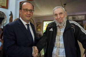 El presidente de Francia, Francois Hollande, sostuvieron un encuentro con el ex presidente cubano Fidel Castro. Foto: Notimex