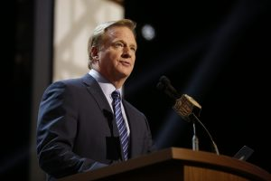 NFL commissioner Roger Goodell addresses the crowd during the first round of the 2015 NFL Draft, Thursday, April 30, 2015, in Chicago.  (Jeff Haynes/AP Images for Panini)