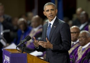 Obama ofreció en Charleston el sermón principal en memoria del reverendo y senador estatal Clamenta Pinckney. Foto: AP