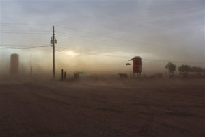 Tormenta de arena a través de Vertuccio Farms, en Mesa. Foto: AP