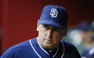 San Diego Padres' Bud Black paces in the dugout prior to a baseball game against the Arizona Diamondbacks Friday, May 8, 2015, in Phoenix. (AP Photo/Ross D. Franklin)