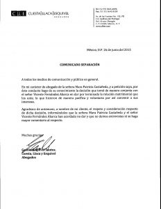COMUNICADO DE SEPARACION DE VICENTE FERNANDEZ JR. Y MARA PATRICIA CASTAÑEDA.