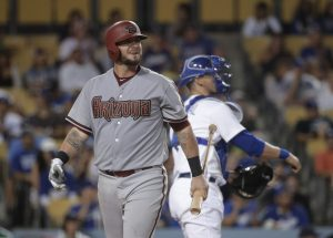 Arizona Diamondbacks' Jarrod Saltalamacchia walks to the dugout after striking out during the ninth inning of a baseball game against the Los Angeles Dodgers, Tuesday, June 9, 2015, in Los Angeles. The Dodgers won 3-1. (AP Photo/Jae C. Hong)