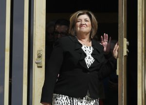 Mary Rose Wilcox, a Maricopa County Board of Supervisors member who had a criminal case brought against her by then-Maricopa County Attorney Andrew Thomas, leaves the Arizona State Courts building after an ethics panel moved to disbar Thomas, Tuesday, April 10, 2012, in Phoenix.  An Arizona ethics panel ruled to disbar Thomas, Maricopa County's former top prosecutor, for failed corruption investigations he and Sheriff Joe Arpaio, America's self-proclaimed toughest sheriff, conducted targeting officials with whom they were having political and legal disputes.  The three-member disciplinary panel of the Arizona courts found that ex-County Attorney Andrew Thomas violated the professional rules of conduct for lawyers in bringing criminal charges against two county officials and a judge in December 2009.  (AP Photo/Ross D. Franklin)