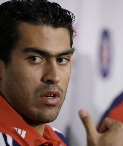 The Chicago Fire's new designated player Nery Castillo answers questions at a news conference, Thursday, July 29, 2010, in Bridgeview, Ill. Castillo comes to the Fire after spending eight seasons with FC Olympiakos where he tallied 30 goals in 105 appearances. (AP Photo/M. Spencer Green)