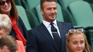 LONDON, ENGLAND - JULY 09:  David Beckham and Mother, Sandra Georgina West attend day ten of the Wimbledon Lawn Tennis Championships at the All England Lawn Tennis and Croquet Club on July 9, 2015 in London, England.  (Photo by Clive Brunskill/Getty Images)