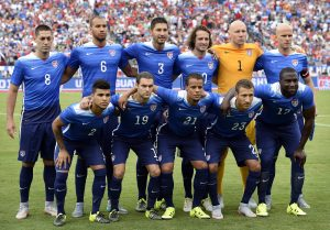 The United States Men's National Soccer Team poses for a photograph before a international friendly soccer match against Guatemala Friday, July 3, 2015, in Nashville, Tenn. (AP Photo/Mark Zaleski)