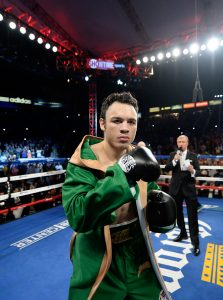 LOS ANGELES, CA - APRIL 18:  Julio Cesar Chavez Jr. is introduced before his fight against Andrzej Fonfara during the WBC light heavyweight title fight at StubHub Center on April 18, 2015 in Los Angeles, California.  Fonfara would win the fight in a ninth round TKO.  (Photo by Harry How/Getty Images)