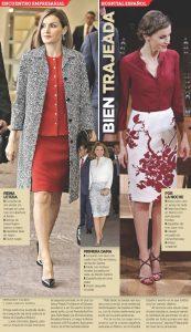 Letizia optó por un look de dos piezas de Nina Ricci, así como por blusa como la pencil skirt en blanco con motivos florales son del diseñador español Felipe Varela. Foto: Agencia Reforma