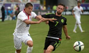 during the second half of a friendly soccer match in Orlando, Fla., Saturday, June 27, 2015. The teams tied 2-2. (AP Photo/Phelan M. Ebenhack)