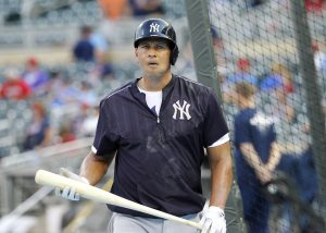 New York Yankees designated hitter Alex Rodriguez (13) steps out of the batting cage before a baseball game against the Minnesota Twins in Minneapolis, Friday, July 24, 2015. (AP Photo/Ann Heisenfelt)