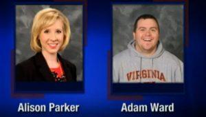 Esta imagen de pantalla de WDBJ-TV7, en Roanoke, Virginia, muestra a la reportera Alison Parker y el camarógrafo Adam Ward. Ambos fueron muertos a tiros el miércoles 26 de agosto de 2015 cuando un pistolero abrió fuego durante una entrevista en vivo en Moneta, Virginia. (Courtesy of WDBJ-TV7 via AP)