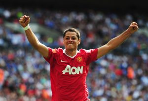 LONDON, ENGLAND - AUGUST 08:  Javier Hernandez of Manchester United celebrates as he scores their second goal during the FA Community Shield match between Chelsea and Manchester United at Wembley Stadium on August 8, 2010 in London, England.  (Photo by Laurence Griffiths/Getty Images)