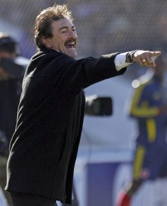 Costa Rica's coach Ricardo Lavolpe, from Argentina,  gives instructions during a Copa America soccer match against Colombia  in Salvador de Jujuy Argentina, Saturday, July 2, 2011. (AP Photo/Dolores Ochoa)