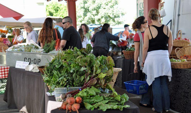 Mercado con delicias culinarias, cosechas locales y artesanías