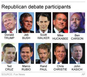Imagen de los 10 precandidatos republicanos a la presidencia de Estados Unidos que participarán en el debate del próximo jueves. Foto: AP