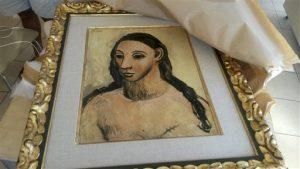 La pintura fue incautada en un barco el 31 de julio en Córcega, Francia. Foto: Douane Francaise via AP