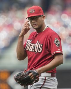 Arizona Diamondbacks relief pitcher Randall Delgado in action during a baseball game against the Philadelphia Phillies, Sunday, May 17, 2015, in Philadelphia. (AP Photo/Laurence Kesterson)