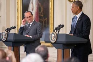 El presidente Barack Obama y el presidente francés Francois Hollande en una conferencia de prensa en la Casa Blanca la tarde del martes. Foto: AP