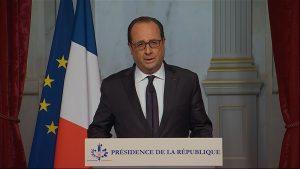 El presidente francés Francois Hollande François Hollande declaró tres días de luto nacional y elevó la seguridad de la nación a su máximo nivel. Foto: AP