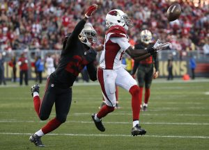 Arizona Cardinals wide receiver J.J. Nelson, right, catches a pass in front of San Francisco 49ers strong safety Jimmie Ward during the second half of an NFL football game in Santa Clara, Calif., Sunday, Nov. 29, 2015. (AP Photo/Tony Avelar)