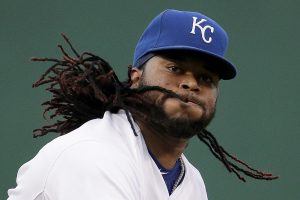 Kansas City Royals starting pitcher Johnny Cueto throws during the first inning of a baseball game against the Detroit Tigers Tuesday, Sept. 1, 2015, in Kansas City, Mo. (AP Photo/Charlie Riedel)