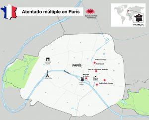 Mapa de los ataques perpetrados este viernes por la noche en París, en donde Tiroteos y explosiones en diversas áreas de la ciudad dejaron decenas de heridos y muertos en la capital francesa. Foto: Notimex