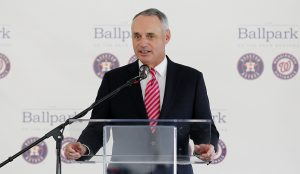 Major League Baseball commissioner Rob Manfred speaks during a groundbreaking ceremony for the future home of the Houston Astros and the Washington Nationals spring training facility on Monday, Nov. 9, 2015, in West Palm Beach, Fla. (AP Photo/Steve Mitchell)