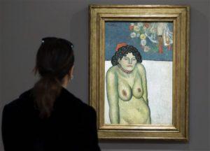 """la pintura """"La Gommeuse"""", obra realizada en 1901 durante el Período Azul del pintor español Pablo Picasso. Foto: AP"""