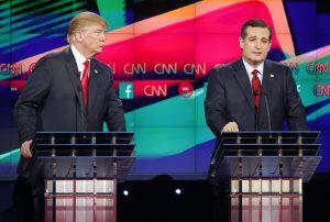 Donald Trump y Ted Cruz encabezan las preferencias de los republicanos rumbo a la candidatura presidencial. Foto: AP