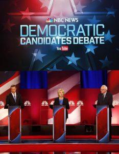 La precandidata presidencial demócrata Hillary Clinton, al centro, habla durante el debate organizado por NBC y YouTube el pasado domingo. Foto: AP