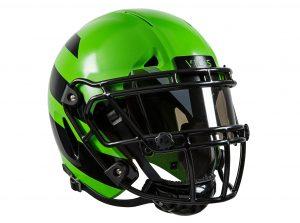En la imagen el casco de fútbol americano ZERO1, que tendría una mayor capacidad para absorber impactos. Foto: AP