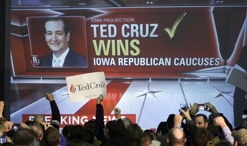 Cruz gana en Iowa, Clinton y Sanders en ajustada carrera