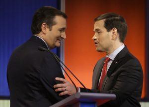 El victorioso Ted Cruz y un jubiloso Marco Rubio