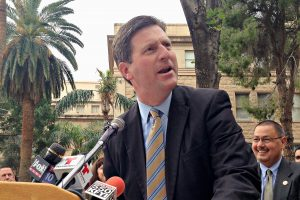 Phoenix Mayor Greg Stanton speaks during a press conference opposing a measure outlawing early ballot collection efforts outside the Arizona Capitol on Monday, Feb. 1, 2016, in Phoenix. (AP Photo/Ryan VanVelzer)
