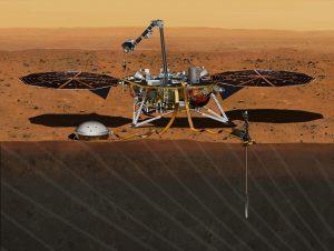 Esta ilustración de agosto del 2015 suministrada por NASA/JPL-Caltech muestra la sonda Insiht Mars que será enviada a Marte en mayo del 2018, según anunció la NASA el 9 de marzo del 2016. (NASA/JPL-Caltech via AP)