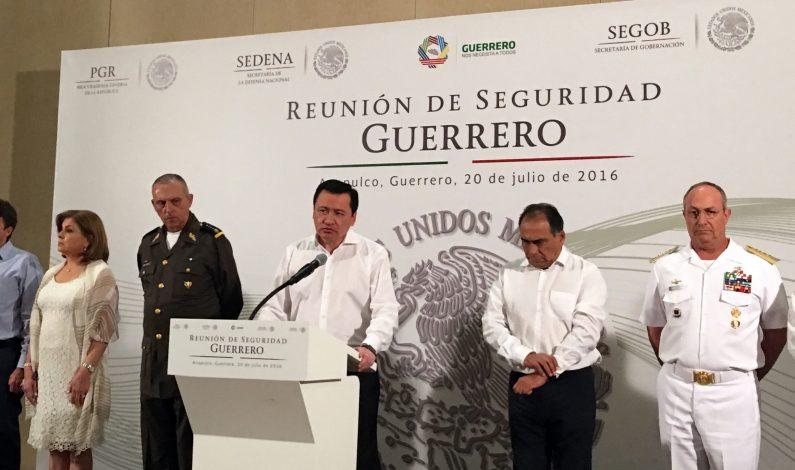 Osorio Chong llama a no bajar la guardia en Guerrero contra inseguridad